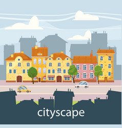 cute cityscape beautiful houses cartoon style vector image
