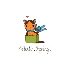 Cute little spotted cat in the box vector