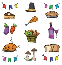 Doodle of thanksgiving object set vector