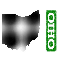 Dotted map of ohio state and grunge rectangle vector