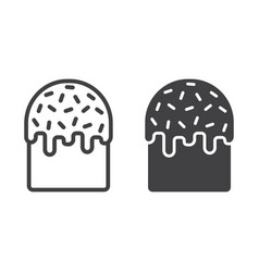 easter cake line and glyph icon easter vector image
