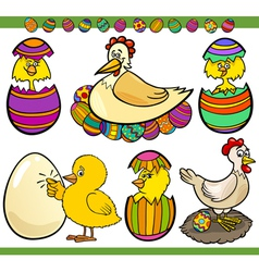 easter chickens set cartoon vector image
