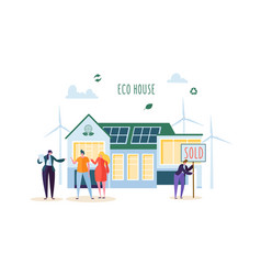 eco house concept happy people buying new home vector image