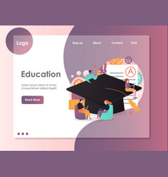 education website landing page design vector image