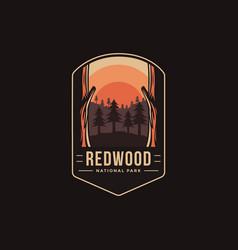 Emblem patch logo redwood national park vector