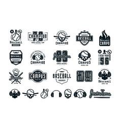 emblems and badges set campus baseball team vector image