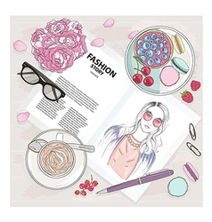 fashion breakfast background with magazine vector image