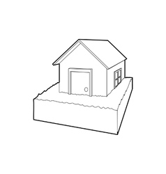 Flooded house icon outline style vector