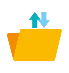 Folder document with upload and download arrows vector