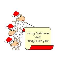 Funny Christmas cartoon sheep vector