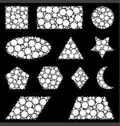 Geometric shapes made from dots isolated on black vector