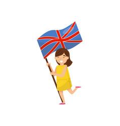 Girl holding national flag of united kingdom vector