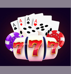 golden slot machine dices poker cards wins the vector image
