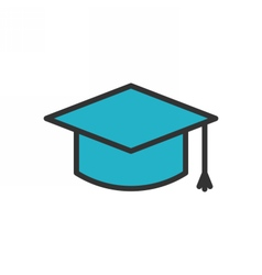 Graduation Cap Outline Icon vector image