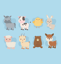 Group cute animals farm characters vector