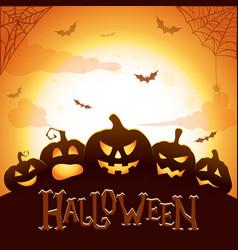 halloween poster glowing halloween pumpkins vector image