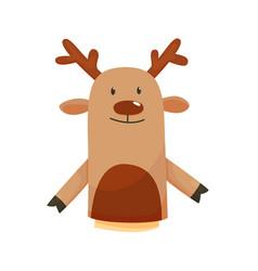 Hand or finger puppets play doll deer cartoon vector