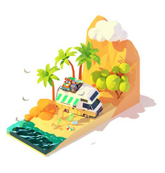 Isometric camper on beach vector