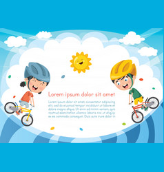 Kids cycling vector