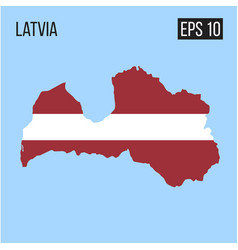 latvia map border with flag eps10 vector image