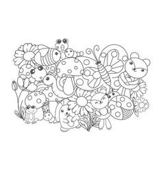 Linear drawing set cute children vector