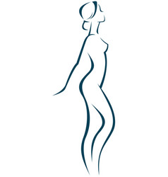 linear silhouette of a beautiful slender woman vector image
