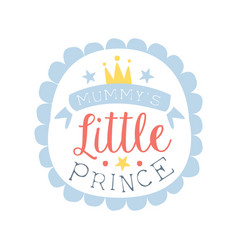 little prince label colorful hand drawn vector image