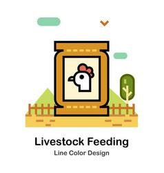 Livestock feeding line color icon vector