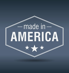 Made in America hexagonal white vintage label vector
