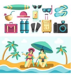man and woman on beach and set of vacation things vector image