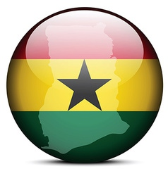 Map on flag button of Republic of Ghana vector image