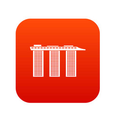 Marina bay sands hotel singapore icon digital red vector