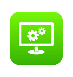 monitor settings icon digital green vector image
