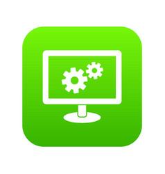 Monitor settings icon digital green vector