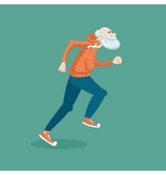 Old man running vector image