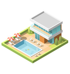 outdoor pool for swiming near hotel isometric vector image