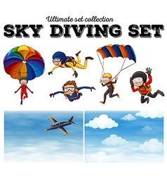 People doing sky diving vector image