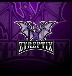 Pterodactyl esport mascot logo design vector