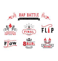 Rap battle badge logo and typography design vector