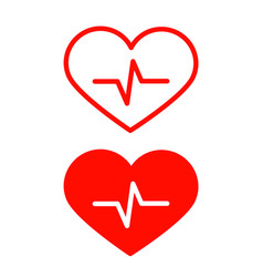 red heart icons set with cardiogram symbol vector image