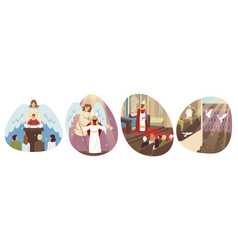 Religion christianity holiday set concept vector