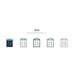 Rule icon in different style two colored and vector