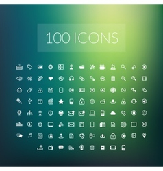 set 100 simple universal modern thin line icons vector image
