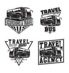 Set bus travel company logo designs vector