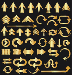 Set golden arrow shapes isolated on black vector