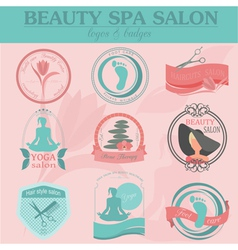 Set of vintage hairstyle body care and cosmetology vector image