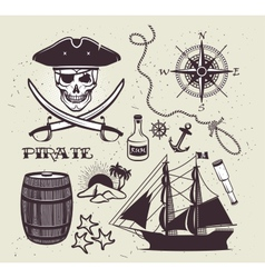 Set of vintage pirate elements vector