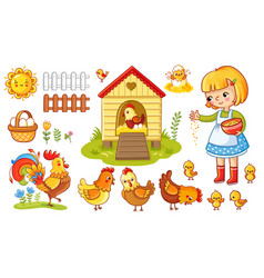 Set with chicken and girl vector
