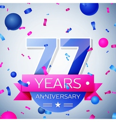 Seventy seven years anniversary celebration on vector