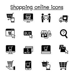 Shopping online icon set vector